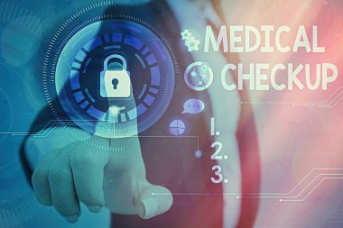 Conceptual hand writing showing Medical Checkup. Business photo showcasing the examination carried out to determine the physical fitness Graphics padlock for web data security application system.