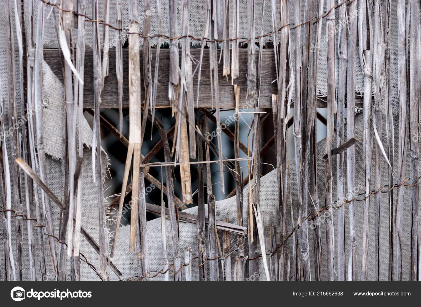 Vintage Bamboo Rattan Close Dilapidated Retro Worn Fence Held
