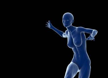 Slim attractive sportswoman running against a black background. 3d illustration