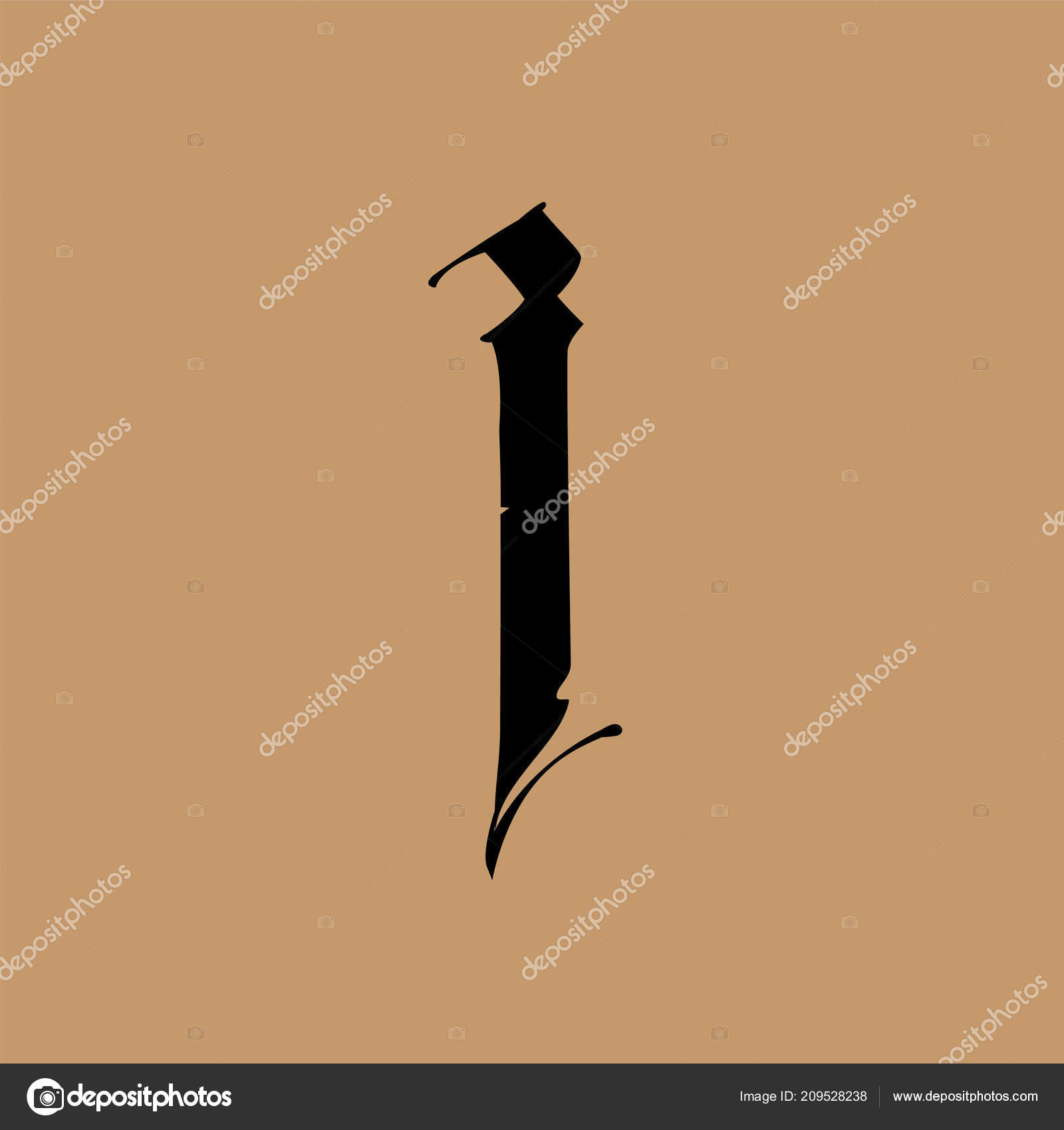 Letter Gothic Style Vector Alphabet Symbol Isolated Golden
