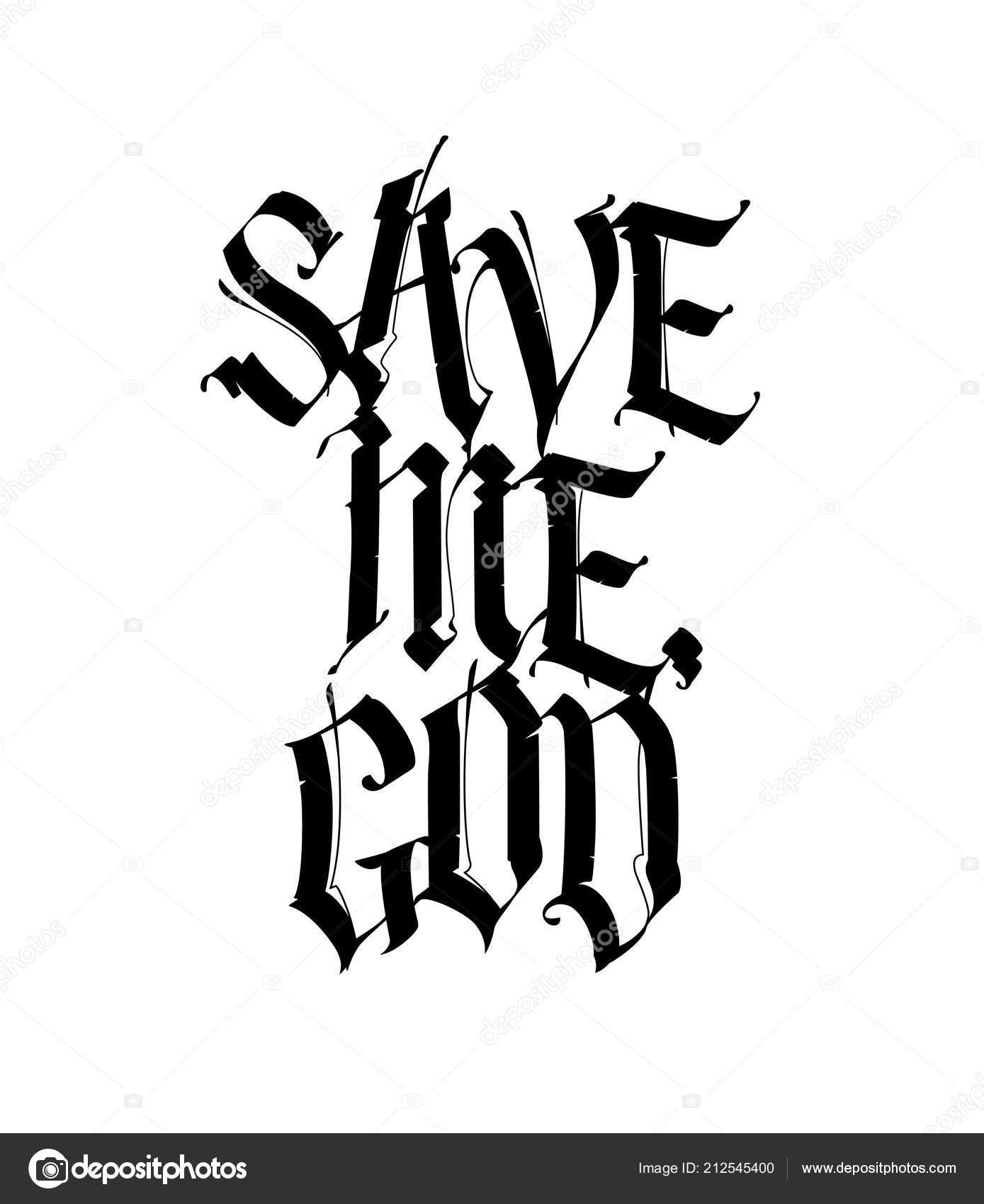 Salvame Dios Estilo Gotico Vector Caligrafia Rotulacion Letras Latin - Letras-en-latin-para-tatuajes