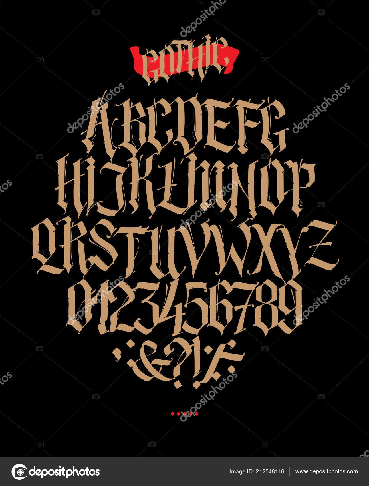 Alphabet Complet Dans Style Gothique Vector Lettres Symboles Sur