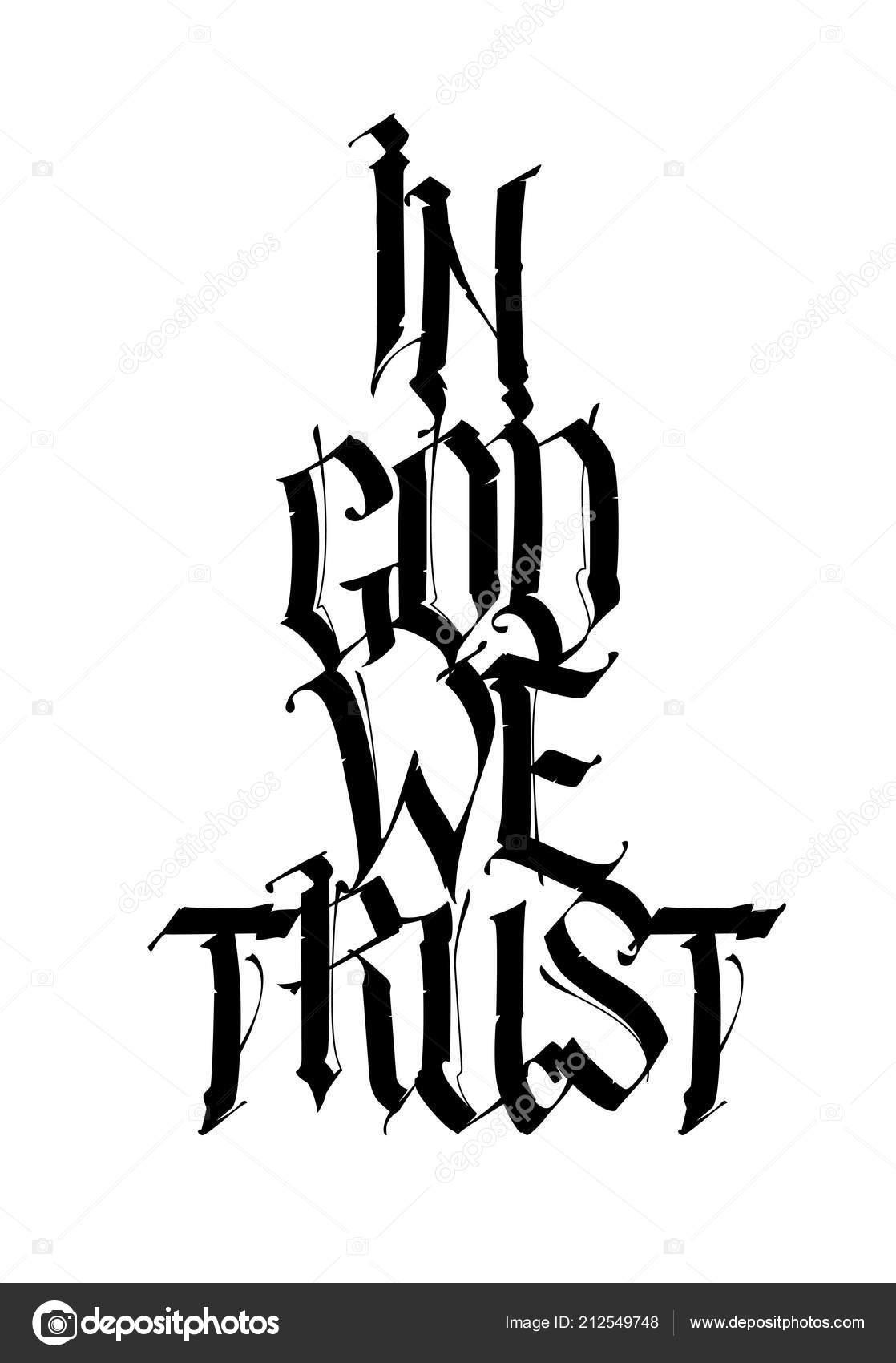 Inscripcion Dios Que Confiamos Estilo Gotico Vector Caligrafia - Letras-en-latin-para-tatuajes