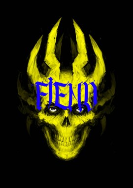 Illustration of a yellow skull with horns and an inscription. Image is isolated on a black background. Cover for the album, book and site. The image of the devil. Illustration for bandanas and print. Daemon. Ghost.