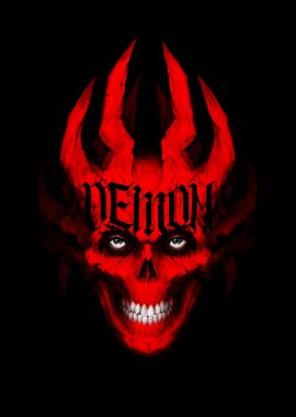 Illustration of red toothy skull with horns. Image is isolated on a black background. Cover for the album, book and site. Devil's image. Illusion for the poster. Sketch, 2D digital painting. Demon.