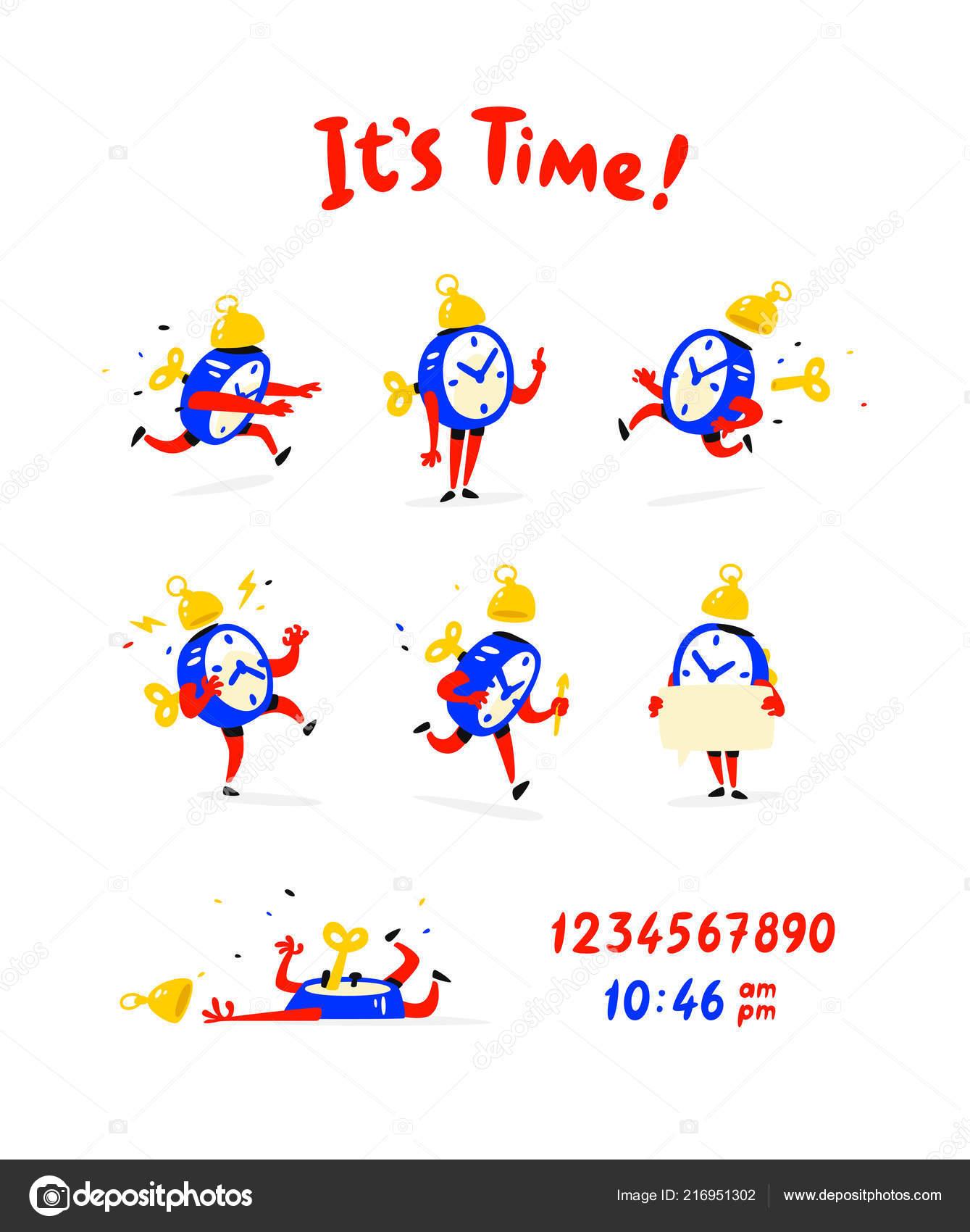 Cartoon Characters Alarm Clock Vector Set Emotions Alarm Clocks Life