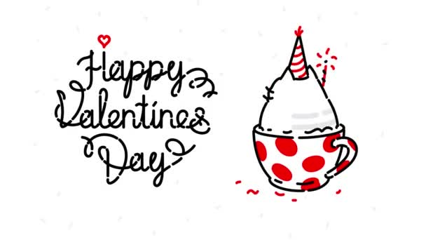 Kätzchen in einer Tasse, die sich dreht. Video-Grußkarte am Feiertag. Glücklicher Valentinstag. Lustige Katze. manuelle Konturanimation. niedliche Zauberkatze. erfüllt Ihre Wünsche.
