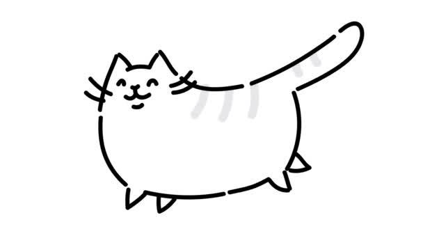 Kövér aranyos macska fut. Képet hozott egy fehér háttér. Szakad, puffadt macska fut-e. Vicces macska. Kézi kontúr animáció. Aranyos mágia macska. Teljesíti vágyait. Tükrözni kell.