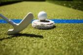 Golfová hůl a míček v trávě