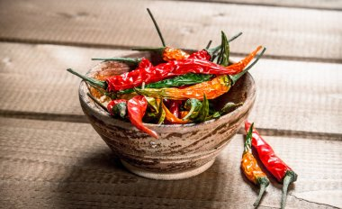 Hot chili peppers in the bowl . On a wooden table.