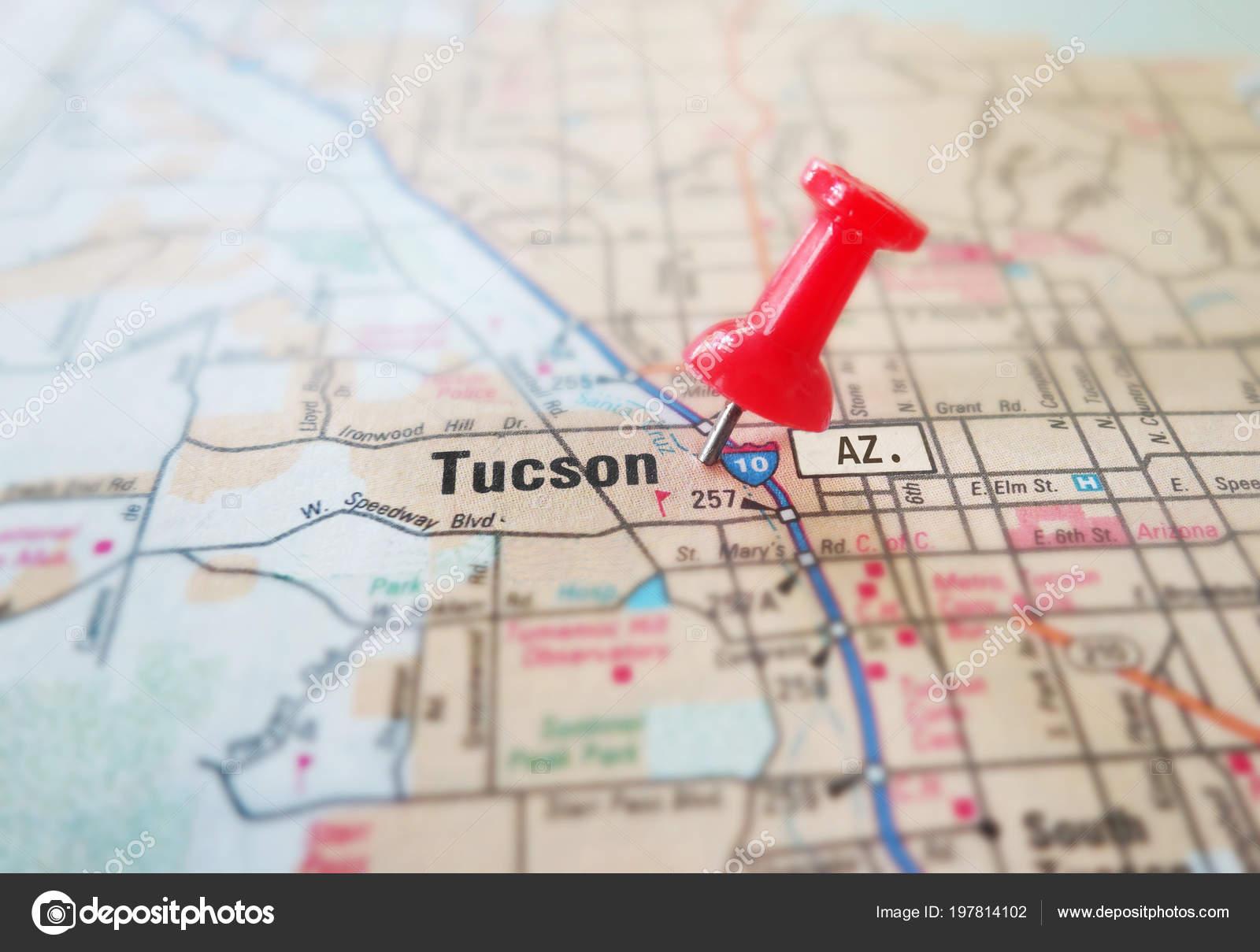 Tucson Arizona Karte.Nahaufnahme Von Tucson Arizona Karte Mit Roten Pin