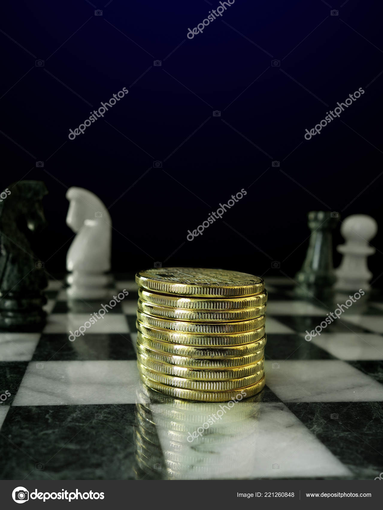 Gold Coins Stacked Chess Board Stock Photo C Zimmytws 221260848