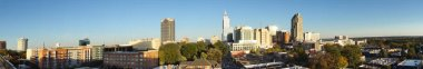 Panorama view of downtown Raleigh NC, facing East near sunset
