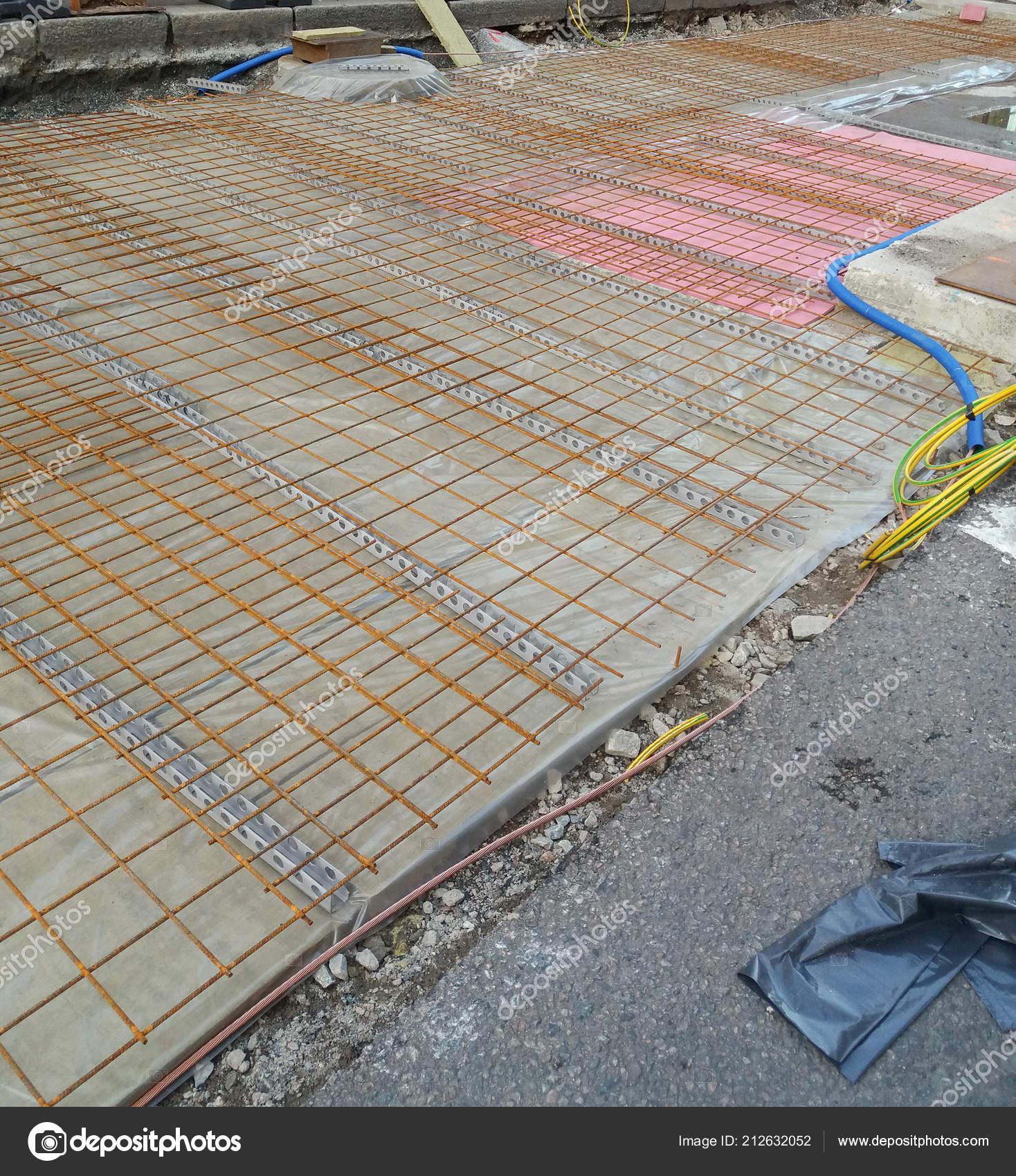 Steel Wire Mesh Concrete Floor Construction Site — Stock