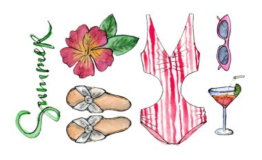 hand painting watercolor illustration. beach party outfit, swimwear, sunglasses and cocktail. isolated elements.