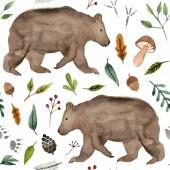 Fotografie Aquarell handgemalte Braunbär. Waldtiere nahtlose Muster