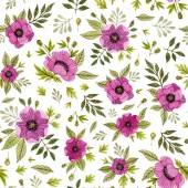 watercolor hand painted pink flowers and leaves. poppies floral, anemones flower. seamless pattern on a white background