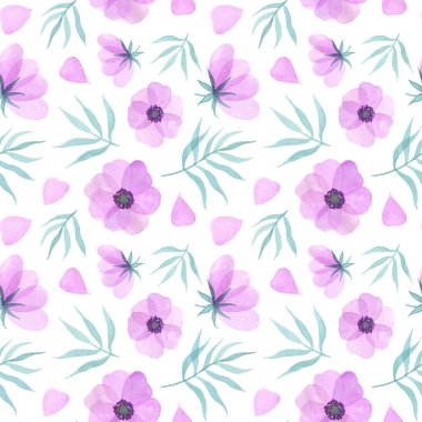 Pink flowers, petals and leaves. watercolor hand pained illustrations. seamless pattern on a white background stock vector