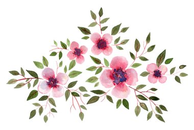 watercolor pink flowers with green leaves. isolated elements