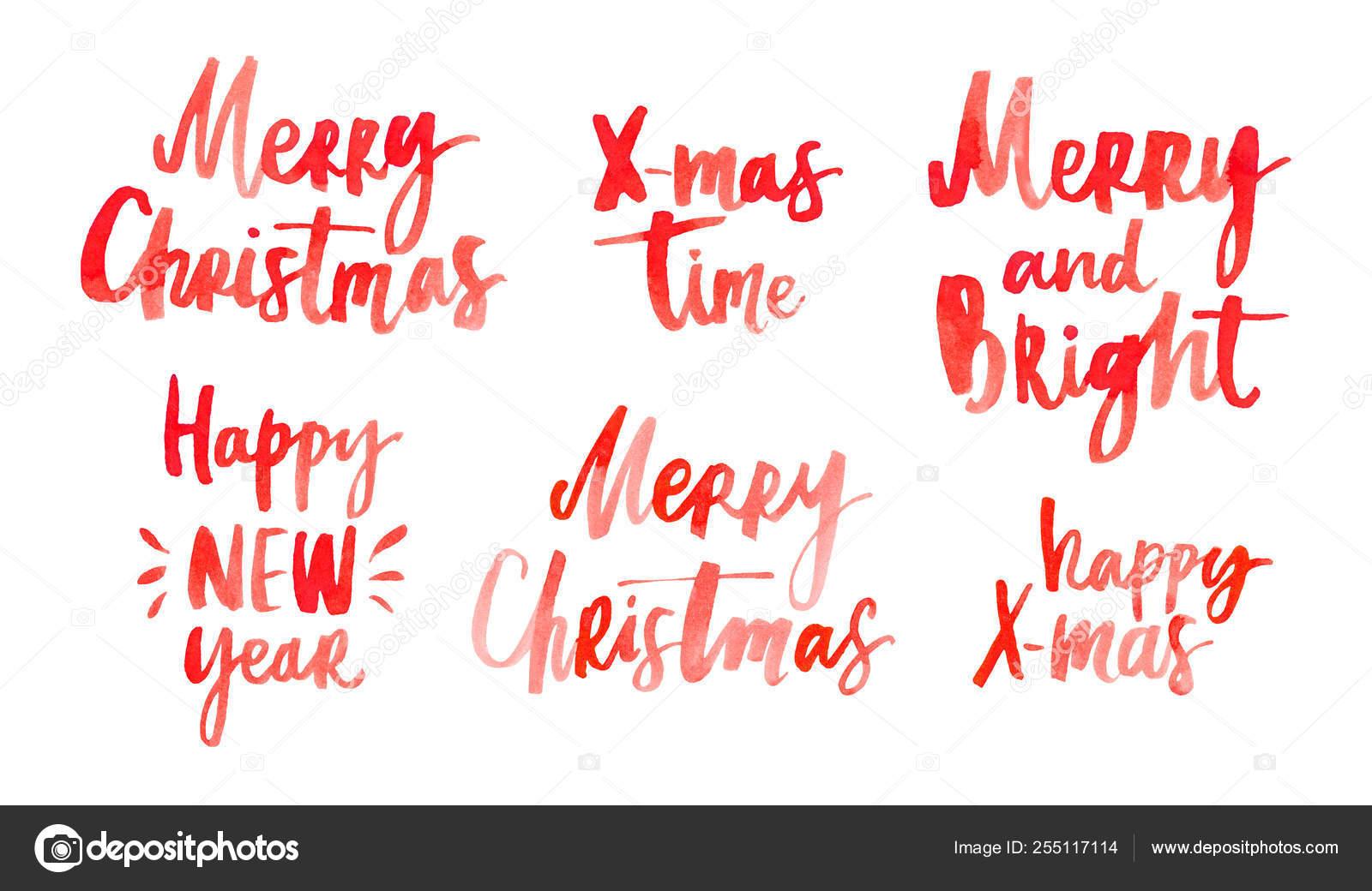 Frases Celebración Letras Mano Feliz Navidad Feliz Año Hew