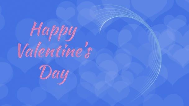 Gratulujeme na den svatého Valentýna, srdce v lásce, vázáni Cupid, na modrém pozadí