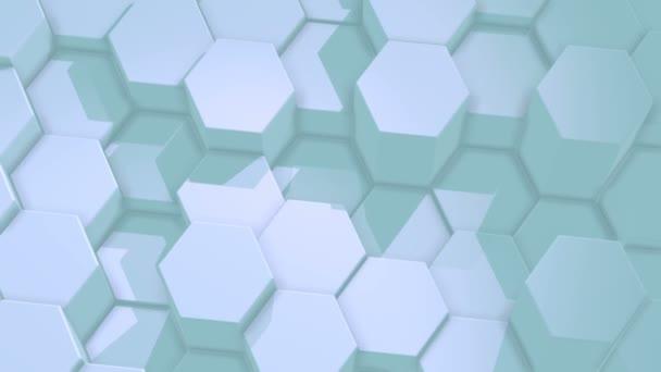 abstrakter sechseckiger Aquamarin-Hintergrund, bewegtes Sechseckgitter mit Licht und Schatten. Loopanimation, 3d