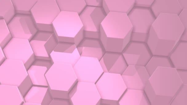 abstrakte sechseckige rosa Hintergrund, bewegliches Gitter aus Sechsecken mit Licht und Schatten. Loopanimation, 3d