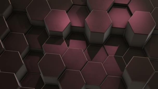 Abstrakter sechseckigen violetten Hintergrund, bewegliches Raster aus Sechsecke mit Licht und Schatten. Looped-Animation, 3d