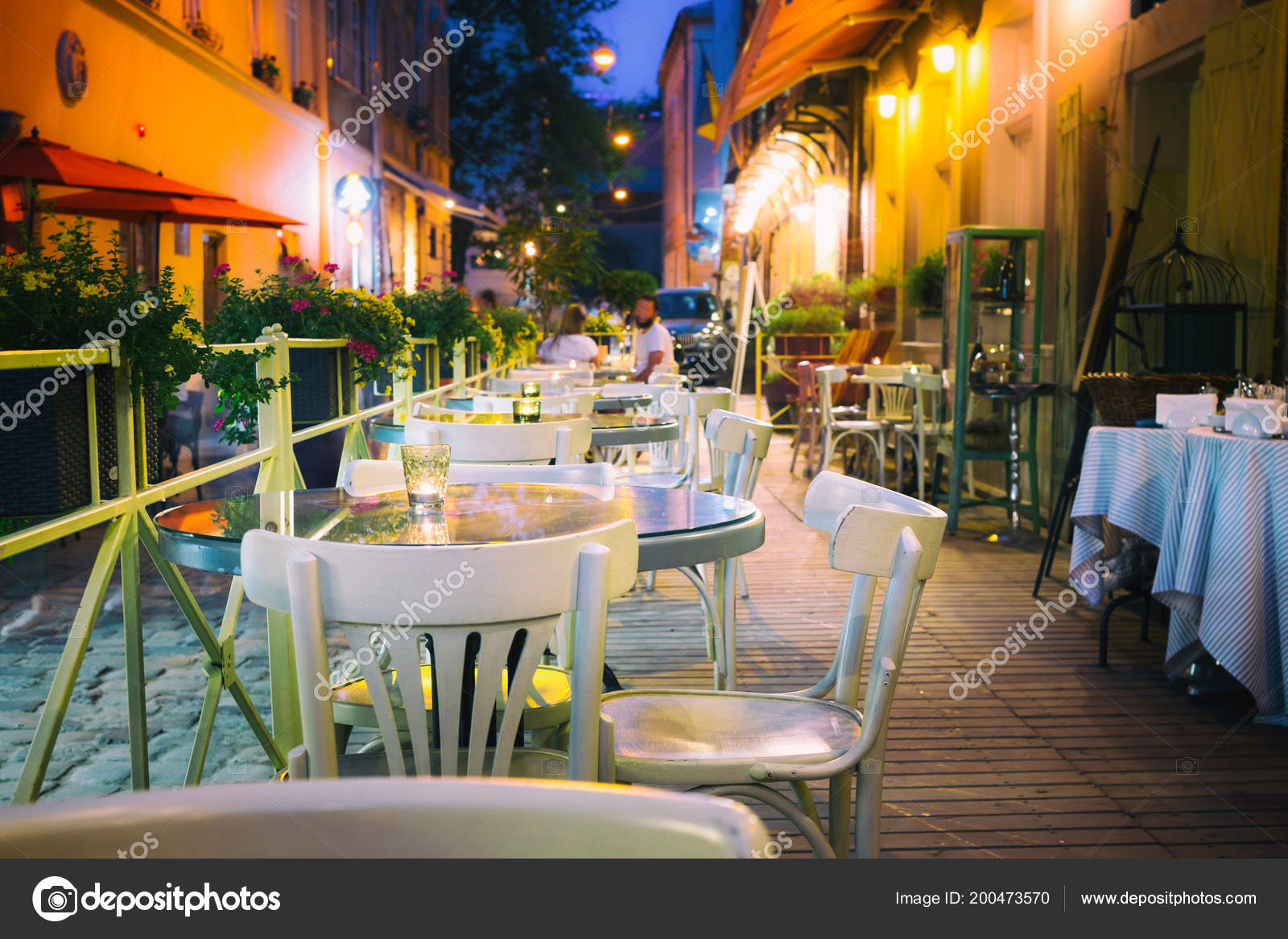 Outdor Restaurant Terrace Night Old European City Street