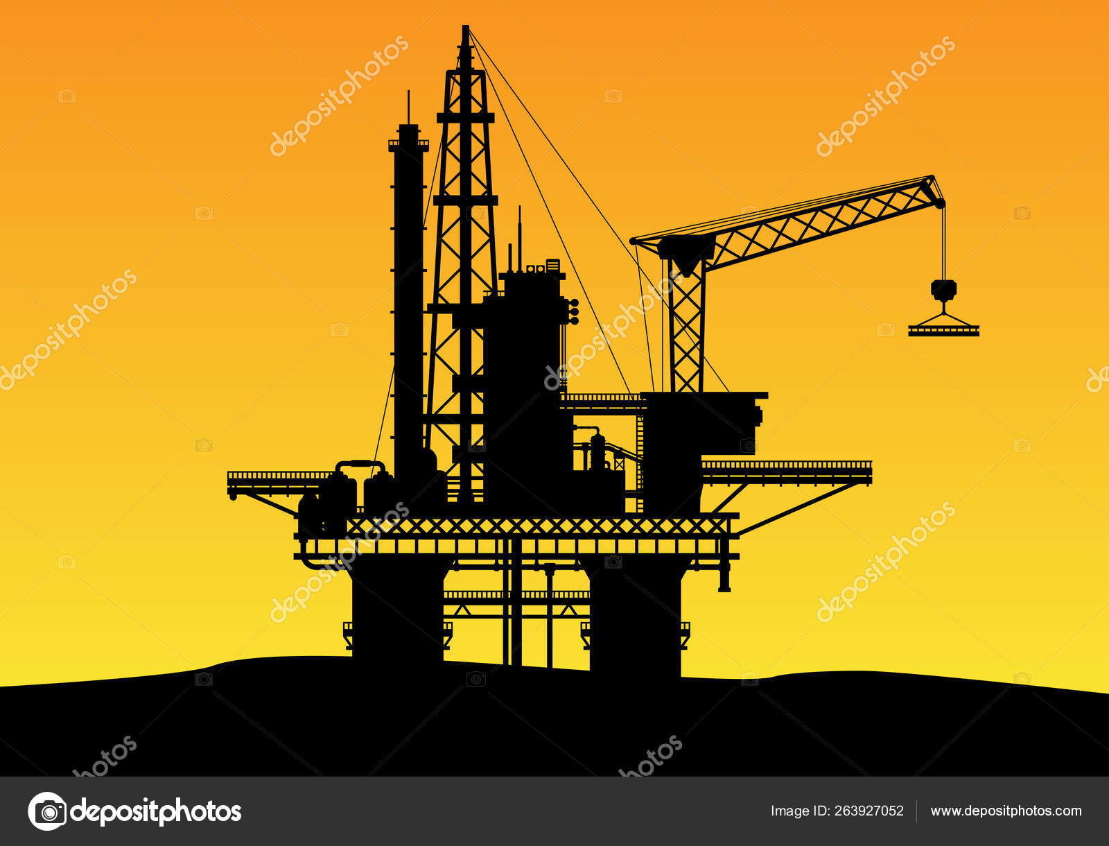 Illustrated Silhouette Offshore Oil Drilling Construction High