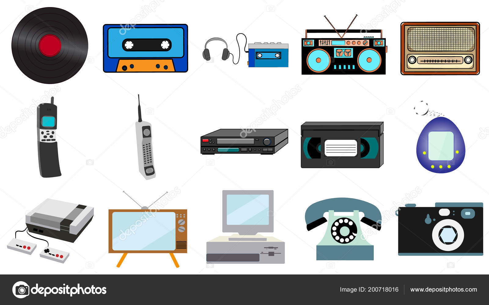 Musica Hipster Electronica Conjunto Tecnologia Hipster Vintage