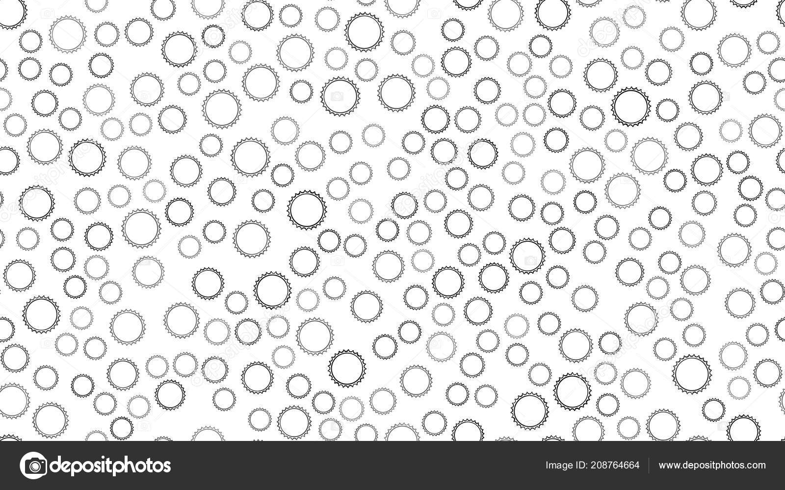 Texture seamless pattern of black round abstract carved metal beer
