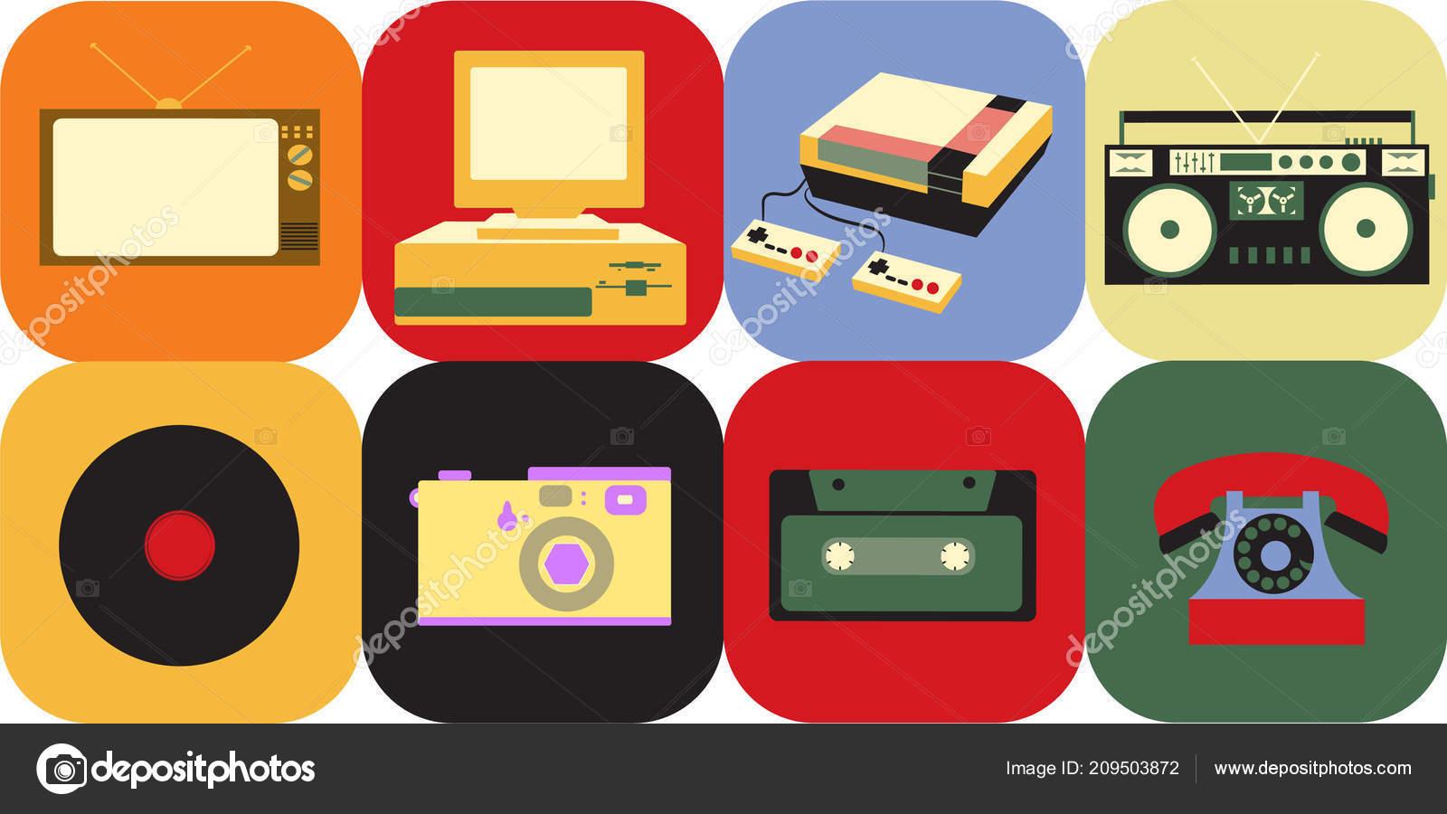 Un Conjunto De Iconos De La Antigua Vintage Retro Electronica Un