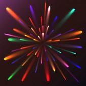 Fotografia Saluto festivo dardore astratta multicolore, fuochi dartificio, energia magica, brillante elettrico cosmica ardente di linee, strisce, raggi di luce su uno sfondo colorato. Illustrazione di vettore. Trama