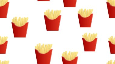 Pattern, French fries in a red cup made of cardboard, vector illustration. on white background. mouthwatering fried potatoes, fast food for a quick lunch. restaurant wallpaper. icon