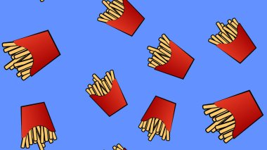 Pattern, French fries in a red cup made of cardboard, vector illustration. on a blue background. mouthwatering fried potatoes, fast food for a quick lunch. wallpaper for restaurant and kitchen. icon