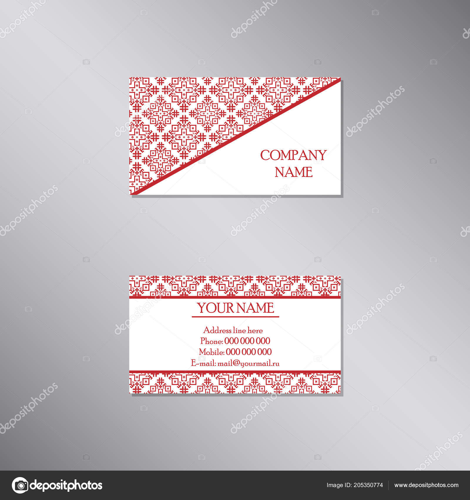 Creative Business Card Traditional Ornament Design Vector Set ...