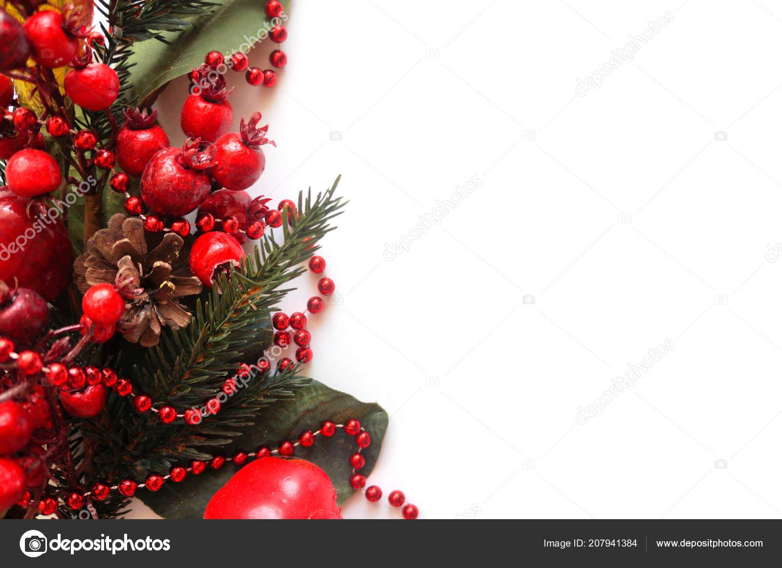 New Year Background Fir Tree Branch Garland Toys White Background ...