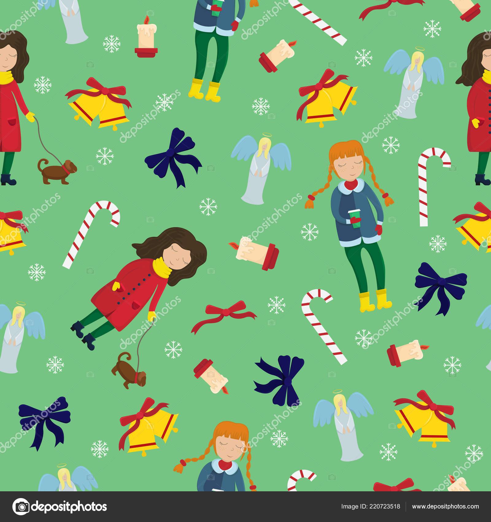83e1694f576f New Year Sealmless Pattern Girls Winter Clothes Seasonal Elements ...
