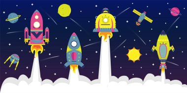 Flat vector background with spaceships a in starry sky. Planets and satellites