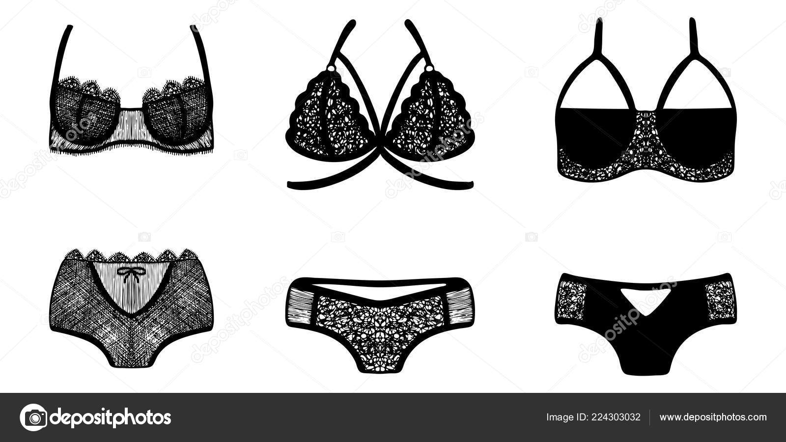 bf73b81ba48e Lace hand-drawn ink on women's underwear. Set of 3 sexy lingerie sets. —  Vector by tata.91.mail.ru