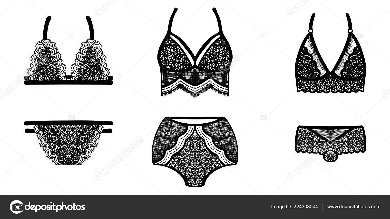 ebbde717e5a0 Lace hand-drawn ink on women's underwear. Set of 3 sexy lingerie sets.