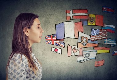 Young student woman learning different languages