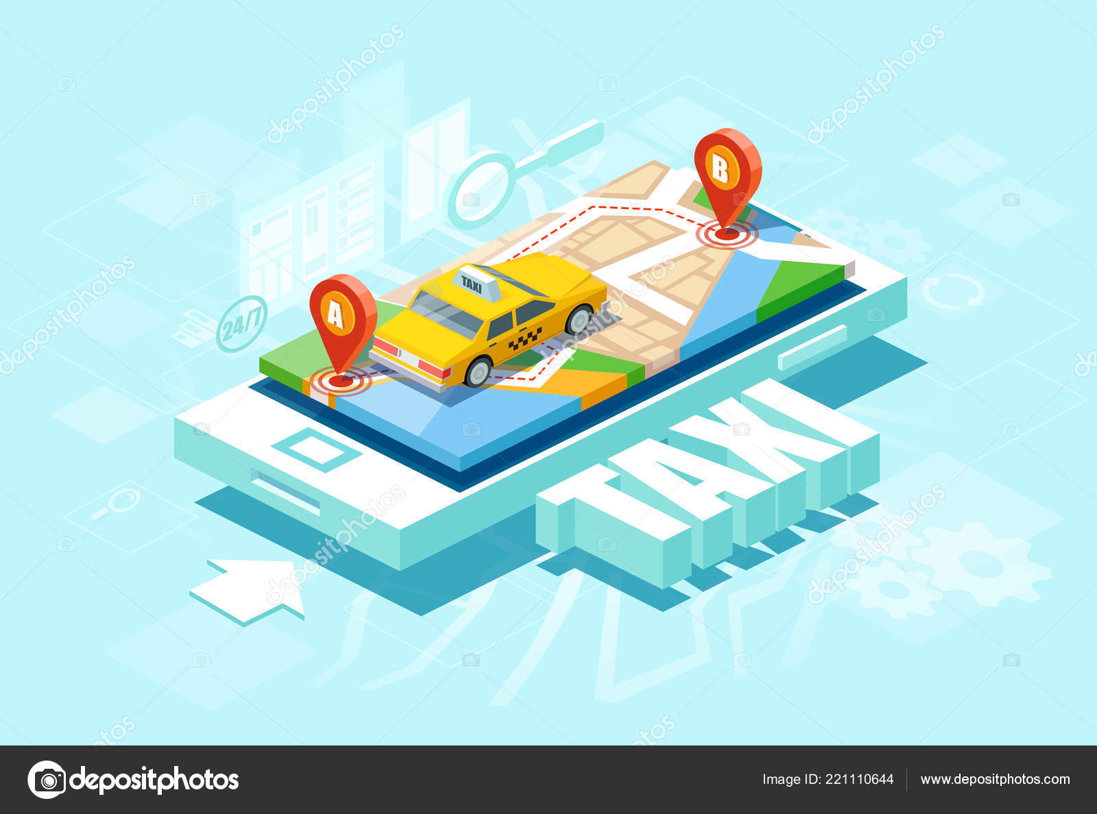 isometric location mobile geo tracking online taxi oder service app
