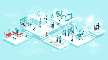Isometric vector of a medical clinic hospital inpatient care with rooms, patients, doctors and nurses. Healthcare technology and imaging studies concept. stock vector