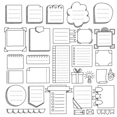 Bullet journal hand drawn vector elements for notebook, diary and planner. Doodle banners isolated on white background. Notes, list, frames, dividers, ribbons.