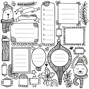 Bullet journal, Christmas, New Year and winter hand drawn vector elements for notebook, diary and planner. Doodle frames isolated on white background.