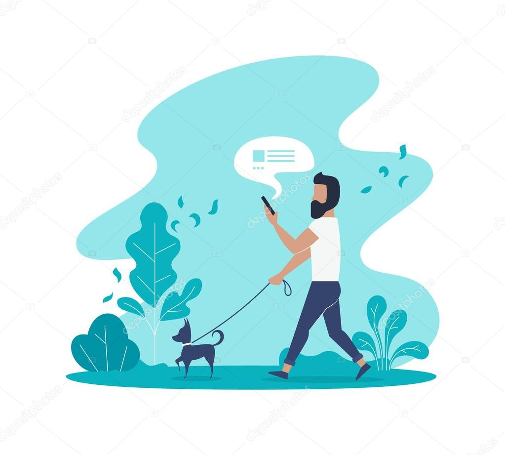 Flat vector concept of man texting message and walking with dog in park
