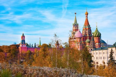 Panoramic view of Moscow Kremlin and Cathedral of Vasily Blessed from park Zaryadye, Russia