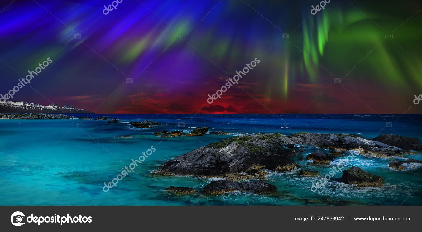 Mare Di Notte Loceano Come Sfondo Naturale Foto Stock